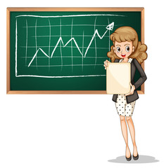 A businesswoman reporting in front of the blackboard