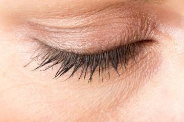 middle age woman eye macro
