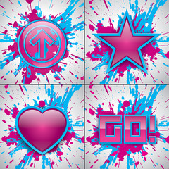 Vector arrow, star, go!, love. Paint explosion