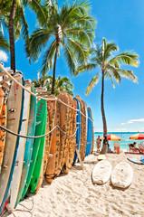 Wall Mural - Surfboards in the rack at Waikiki Beach