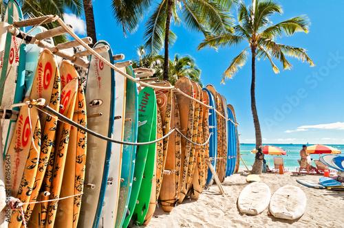 Wall mural Surfboards in the rack at Waikiki Beach - Honolulu