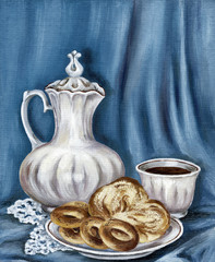 Painting: jug, bread and coffee cup