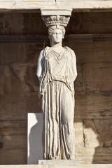 Caryatid ancient statue, erechteion temple, Athens Greece