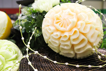 Carved melon on the table