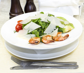 shrimp salad and greens on a white background