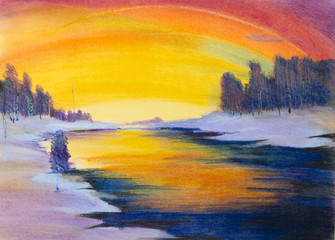winter landscape with pastels