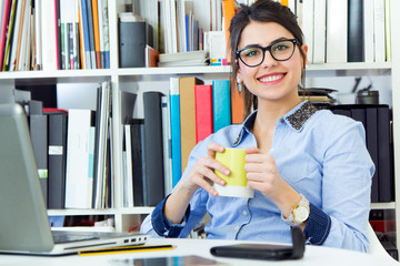 young architect woman working at office