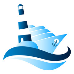 Ship on waves and lighthouse for a vector