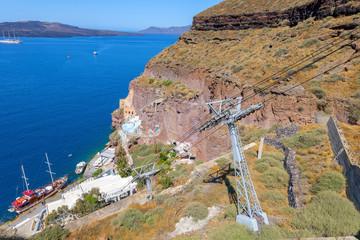Fototapete - Greece Santorini island in cyclades panoramic view of caldera se