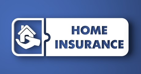 Home Insurance on Blue in Flat Design Style.