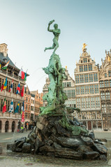 Printed roller blinds Antwerp Antwerp's city hall with the Brabo fountain on the Great Market