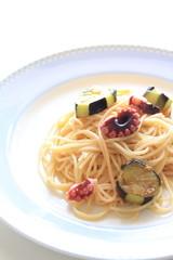italian food, octopus and eggplant spaghetti