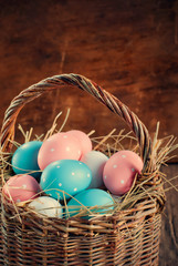 Easter Eggs Painted with Pink, Blue and peas