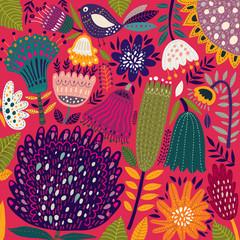 Fototapete - Tropical garden. Spring collection