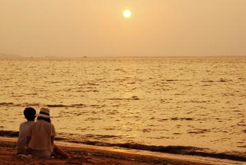 Sea sand sun and sunset at the beach of Thai gulf, Thailand