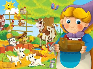 Cartoon farm - illustration for the children