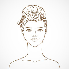 With young woman in sketch style. Vector illustration/EPS 10