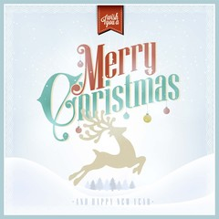 Christmas And Happy New Year Vintage Background With Typography