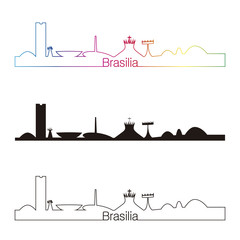 Brasilia skyline linear style with rainbow