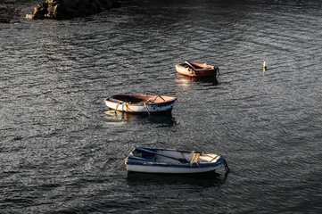 Silhouette Boats at Sunset