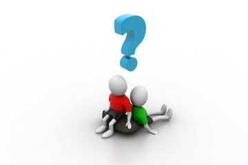 3d people sitting with question mark