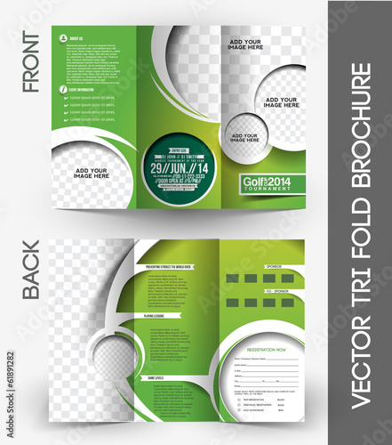 TriFold Golf Tournament  Brochure Design Stock Image And Royalty