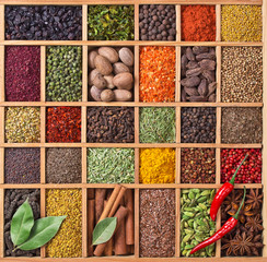Wall Mural - wooden box with spices and herbs