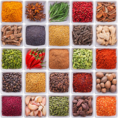 Fototapete - collection of spices and herbs in ceramic bowls