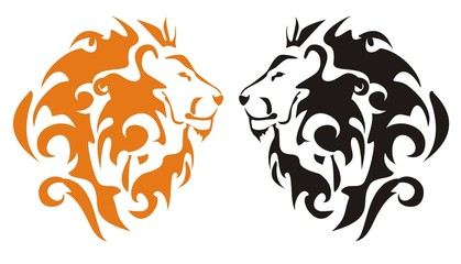 Tribal lion heads. Orange and black on the white