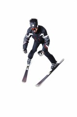 One male skier skiing without sticks on a white background