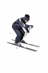 One male skier skiing with full equipment on a white background