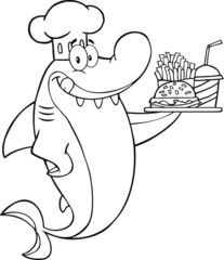 Outlined Shark Holding A Plate Of Hamburger And French Fries