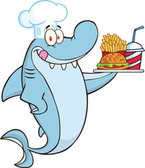 Chef Shark Holding A Plate Of Hamburger And French Fries