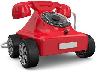 Cadres-photo bureau Voitures enfants Rotes Telefon auf Rädern