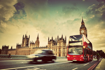 Foto op Aluminium Londen rode bus London, the UK. Red bus, taxi cab in motion and Big Ben