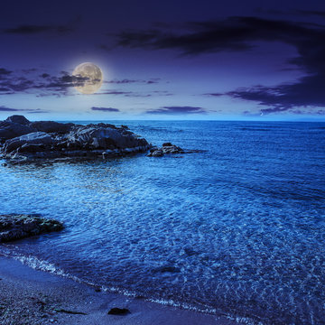 sea waves breaking on the sandy beach at night