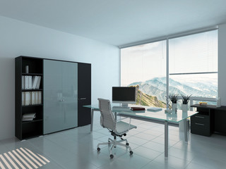 Modern home office interior with desk