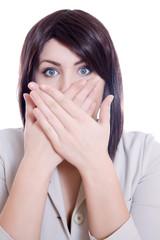Pretty Woman Hiding Mouth