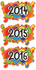 2014 - 2016 Year Sign on Abstract Bubble Background