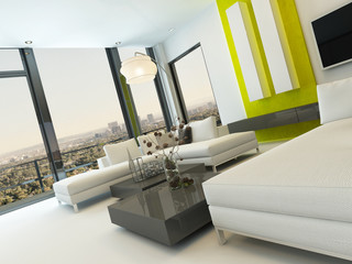 Modern living room interior with green wall