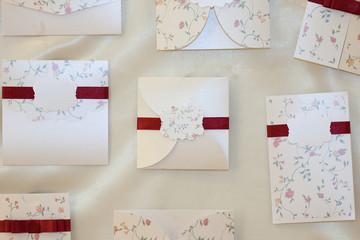 Handmade wedding invitation made of paper