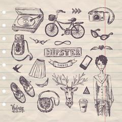hand drawn hipster set