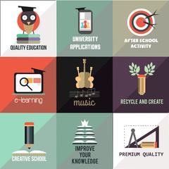 Education flat design icons set