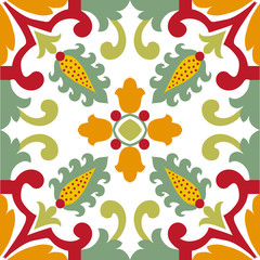 Seamless green ornament tiles
