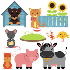 Set of cute domestic animals