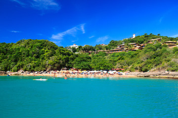 Canvas Prints Turquoise Panoramic view of paradise beach João Fernandinho, Búzios, Bra