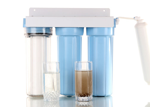 Filter system for water treatment with glasses of clean and