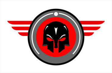 black mask over the winged red circle