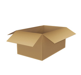 Simple brown carton box, isolated on white background