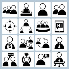 rganization and human resource management icons